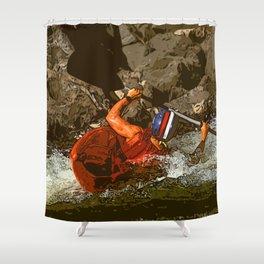Salmon River Kayaker Shower Curtain
