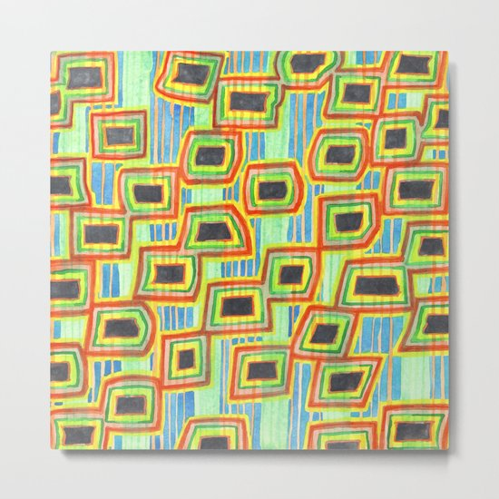 Connected Rectangle Shapes with Vertical Stripes Pattern Metal Print