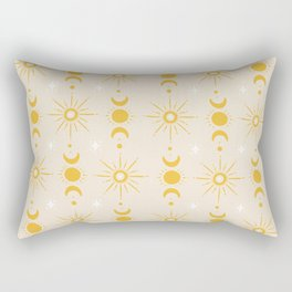 Yellow Sun & Moon Pattern Rectangular Pillow