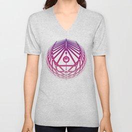 Radiant Abundance (white-warm purple) Unisex V-Neck
