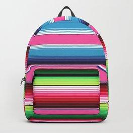 Pink Green Blue Mexican Serape Blanket Stripes Backpack