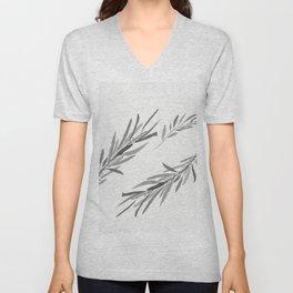 Eucalyptus leaves black and white Unisex V-Neck