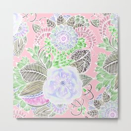 Blush pink lavender green white watercolor flowers Metal Print