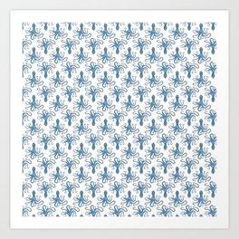 Octopus blue watercolor pattern - Lo Lah Studio Art Print