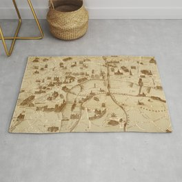 Vintage Map of London England Monuments (1877) Rug
