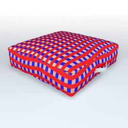 Blue Red Pink Zigzag Optical Illusion Pattern Outdoor Floor Cushion