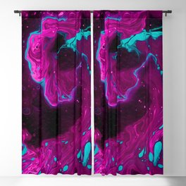 The Big Fuchsia Purple Wave with Turquoise (Dark Cyan) Mottles - Modern Fluid Art - Abstract Expressionism - Amazing Oil painting - Blackout Curtain