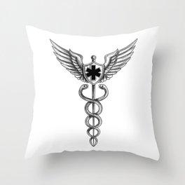 Caduceus Pilot Wings EMT Star Tattoo Throw Pillow