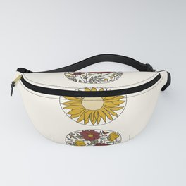 Floral Phases of the Moon Fanny Pack