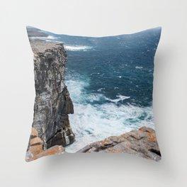 Cliffs off Dún Aonghasa Throw Pillow