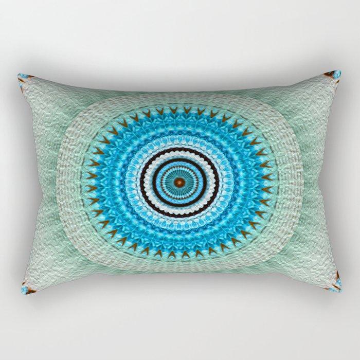 blue floral mandala Rectangular Pillow