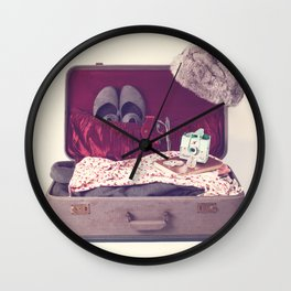 Vintage Journey Suitcase (Hers) (Retro and Vintage Still Life Photography)  Wall Clock