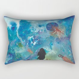 Looking Up Into Space, A Girl Wonders Rectangular Pillow