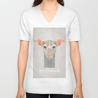 greyhound V-neck T-shirts featuring Greyhound  by Alice Maclean Smith