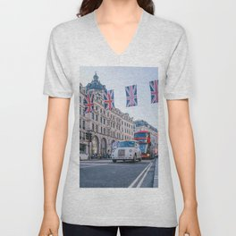 London England Street (Color) Unisex V-Neck