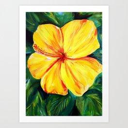 Aloha; Yellow Hibiscus Art Print