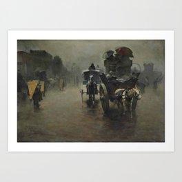 Pieter de Josselin de Jong - Carriages in the Mist, London - Dutch Victorian Retro Vintage Oil Paint Art Print
