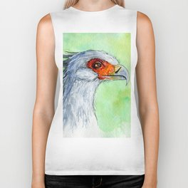 Watercolor secretary bird Biker Tank