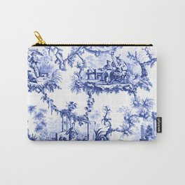 Blue Chinoiserie Toile Carry-All Pouch