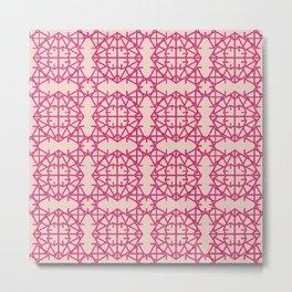 Diamond Bug Pattern Pink Yarrow - Pale Dogwood Metal Print