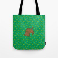 animal crossing Tote Bags featuring Animal Crossing Spring Grass by Rebekhaart