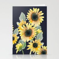 craftberrybush Stationery Cards featuring Sunflower watercolor  by craftberrybush