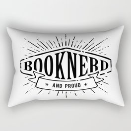 Booknerd and Proud Black Rectangular Pillow