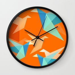 Orange Paper Cranes Wall Clock
