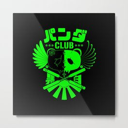 Panda Club Logo Design (Green) Metal Print