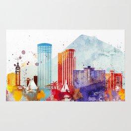 Colorful Honolulu skyline design, Hawaii cityscape Rug