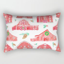 Watercolor Snowy Red Holiday Barns Rectangular Pillow