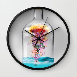 Electric Jellyfish Worlds in  a Bottle Wall Clock