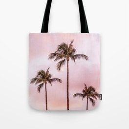 Palm Tree Photography | Landscape | Sunset Unicorn Clouds | Blush Millennial Pink Tote Bag