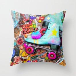 Super Retro Roller Skate Night Throw Pillow