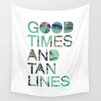 bikini Wall Tapestries featuring Good Times and Tan Lines by Text Guy