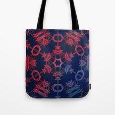 Blue and red glow tribal mandala Tote Bag