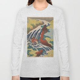 Yoshino Waterfalls Where Yoshitsune Washed his Horse by Katsushika Hokusai Long Sleeve T-shirt