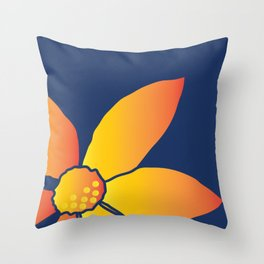Yellow flower on Blue background Throw Pillow