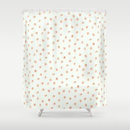 Sweet Peach Polka Dot, Mint Shower Curtain