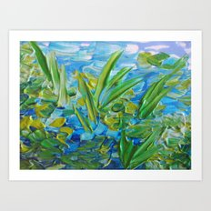 LAKE LOVE - Beautiful Relaxing Turquoise Blue Green Seaweed Chic Decor Gift for Him Acrylic Painting Art Print