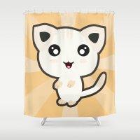 kawaii Shower Curtains featuring Kawaii Cat by Nir P