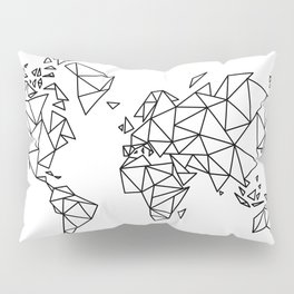 Geometric Low Poly Map of The World / Polygon geometry Pillow Sham