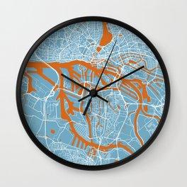 Hamburg Map   Germany   Clound Color   More Colors Wall Clock