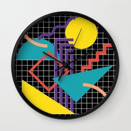 Memphis Pattern - 80s Retro Black Wall Clock