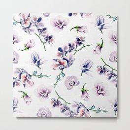 Lavender Blossom Floral Pattern Metal Print