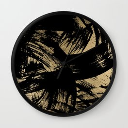 Elegant black faux gold modern brushstrokes pattern Wall Clock