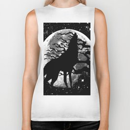 WOLF AND MOON IN BLACK AND WHITE Biker Tank