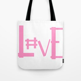 Pink Hashtag Love Tote Bag
