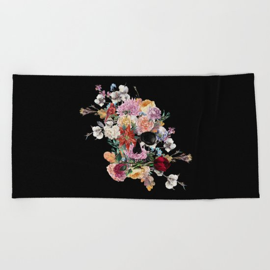 Skull and Flowers Beach Towel
