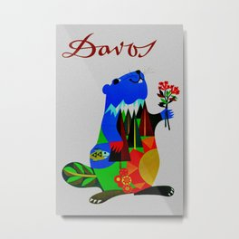 Vintage Davos Switzerland Travel - Beaver Metal Print